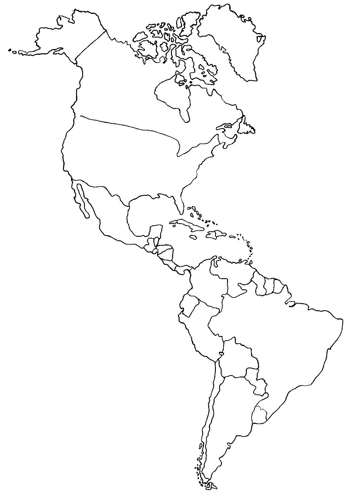 Mapa de continente americano .