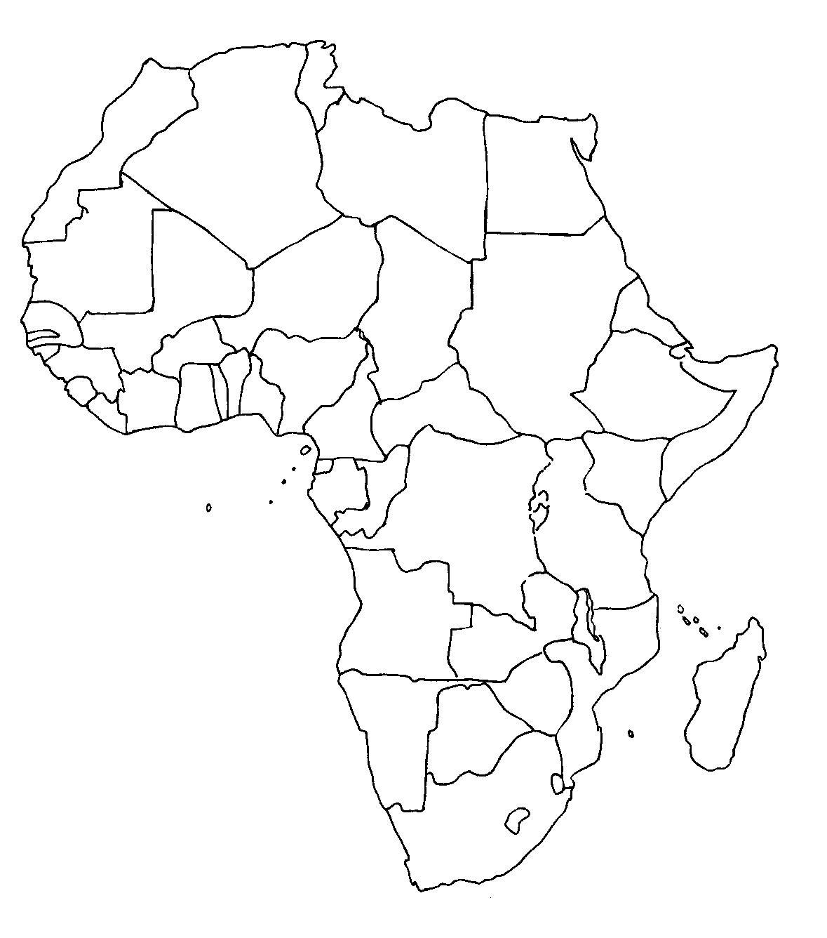 Mapa De Africa Vacio.Mapa Mudo De Continente Africano Con Siluetas De Paises