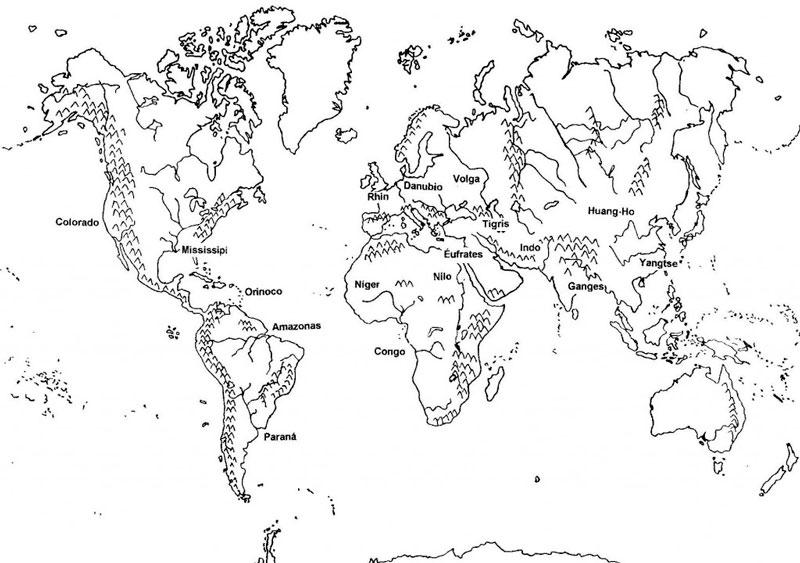 Mapamundi Con Los Rios Mas Importantes Indicados Con Sus